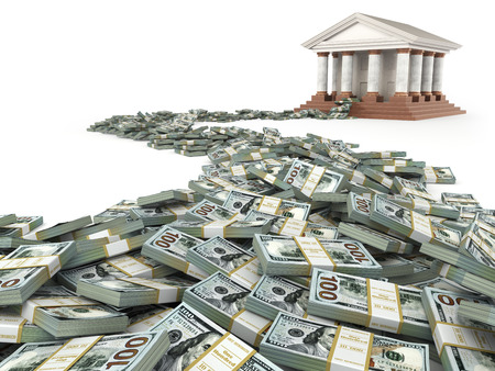 Finance concept. Dollars and bank building. 3d