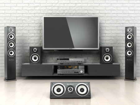 Photo pour Home cinemar system. TV,  oudspeakers, player and receiver  in the room. 3d - image libre de droit
