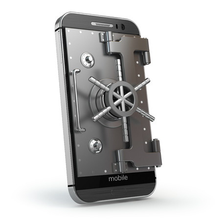 Smartphone or cellphone with vault or safe door.3d