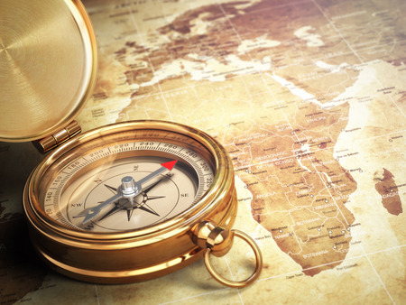 Photo pour Vintage compass on the old world map with DOF effect. Travel concept. 3d - image libre de droit