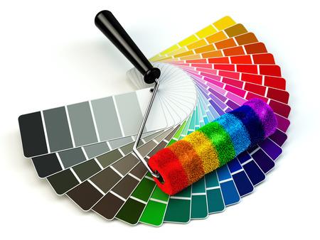 Foto de Roller brush and color guide palette in rainbow colors. 3d - Imagen libre de derechos