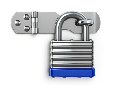 Photo pour Padlock hanging on lock hinge. Security concept. 3d - image libre de droit