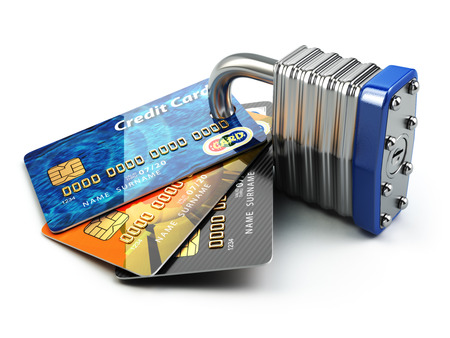 Secure payment internet online shopping concept.. Credit cards and padlock. 3d