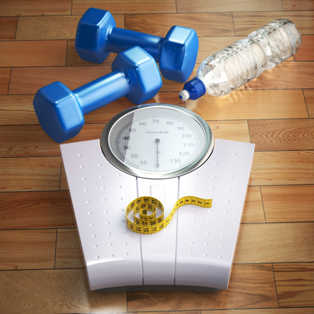 Fitness and weight loss concept. Weigh scales, dumbells and measuring tape. 3d
