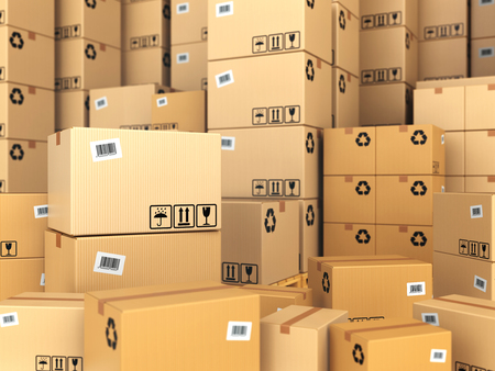 Warehouse or delivery concept. Cardboard boxes background. 3d
