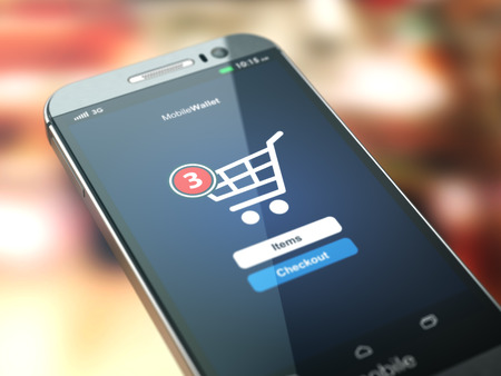 Photo pour Online shopping concept. Mobile phone or smartphone with cart on the screen. 3d - image libre de droit