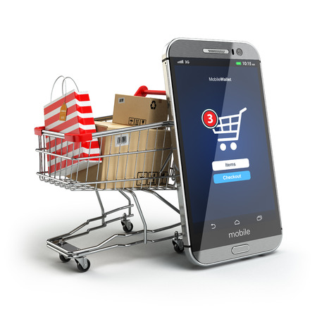 Online shopping concept. Mobile phone or smartphone with cart and boxes and bag. 3dの写真素材