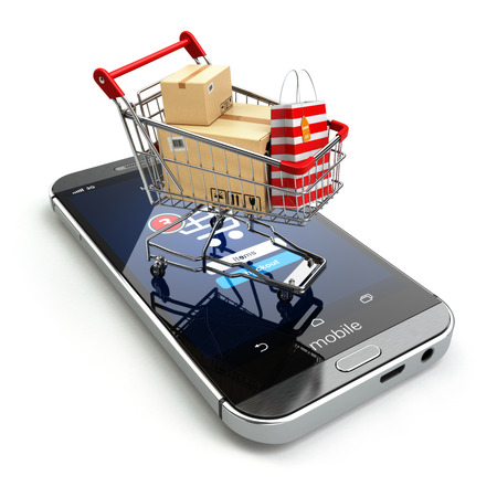 Photo pour Online shopping concept. Mobile phone or smartphone with cart and boxes and bag. 3d - image libre de droit