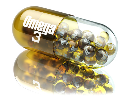 Photo pour Pill with Omega 3  element. Dietary supplements. Vitamin capsules. 3d - image libre de droit