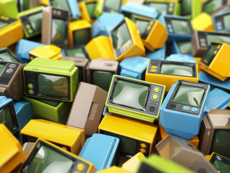 Heap of vintage tv. End of television. Conceptual background. 3d