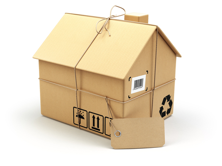 Photo pour Delivery concept. Moving house.Real estate market.  Cardboard box as home isolated on white. 3d - image libre de droit