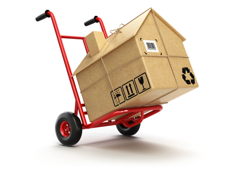 Photo pour Delivery or moving houseconcept. Hand truck with cardboard box as home isolated on white. 3d - image libre de droit