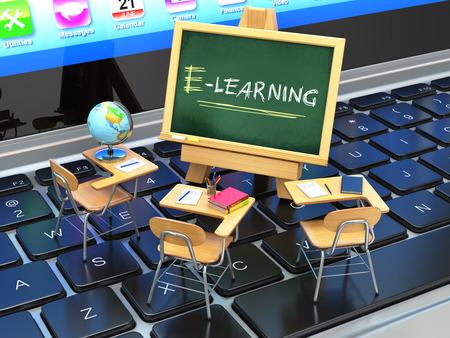 Photo pour E-learning, online education concept. Blackboard and school desks on laptop keyboard. 3d - image libre de droit