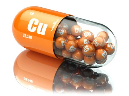 Pills with copper cuprum Cu element. Dietary supplements. Vitamin capsules. 3d