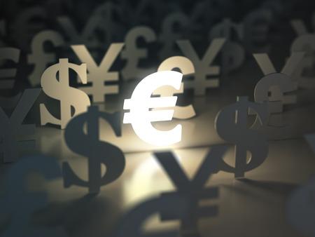 Photo pour Euro, dollar , pound and yen signs. Currency exchange concept. 3d - image libre de droit