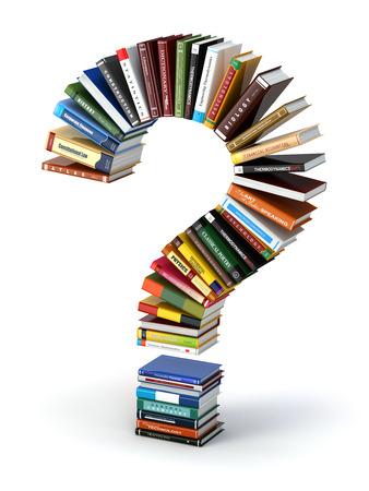Photo pour Question mark from books. Searching information or FAQ edication concept 3d - image libre de droit