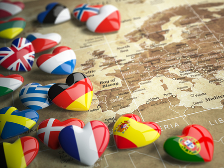 Foto de Map of Europe and hearts with flags of european countries. Travel EU concept. 3d - Imagen libre de derechos