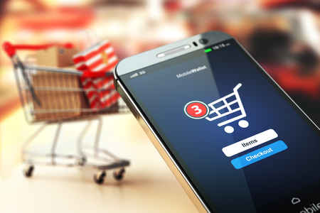 Photo pour Online shopping concept nackground. Mobile phone or smartphone with cart and boxes and bag. 3d - image libre de droit