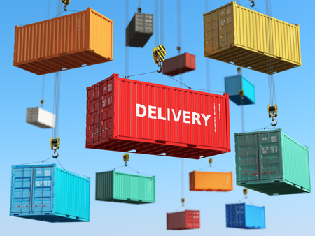 Photo pour Delivery background concept. Cargo shipping containers in storage area with forklifts.  3d - image libre de droit