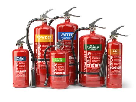 Photo for Fire extinguishers isolated on white background. Various types of extinguishers. 3d illustration - Royalty Free Image