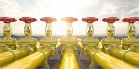 Photo for Yellow gas pipe line valves. Oil and gas extraction, production and transportation industrial - Royalty Free Image