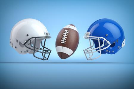 Photo pour American football helmets and ball. - image libre de droit