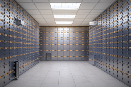 Photo pour Safe deposit boxes room inside of a bank vault. - image libre de droit