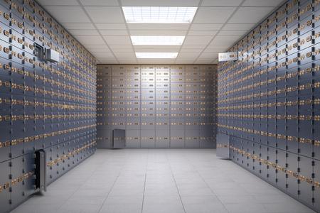 Foto de Safe deposit boxes room inside of a bank vault. - Imagen libre de derechos