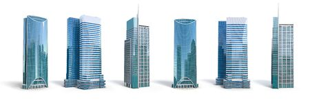 Photo for Different skyscraper buildings isolated on white. - Royalty Free Image