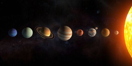 Photo for Solar system planets set. The Sun and planets in a row on universe stars - Royalty Free Image