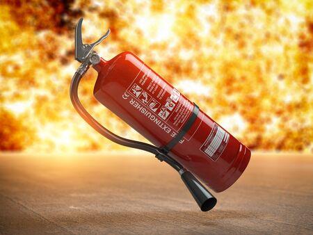 Photo pour Fire extinguisher on a fire background. 3d illustration - image libre de droit