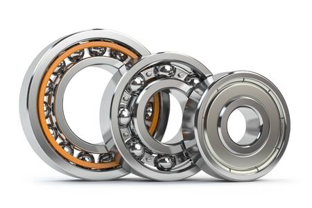 Photo pour Bearings of different types isolated on white - image libre de droit