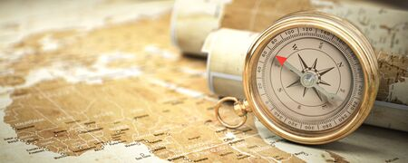 Compass on vintage old map.  Travel geography navigation and adventure concept