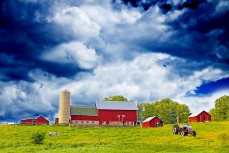 American Country Farm With Blue Sky