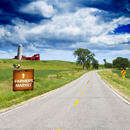 Photo for American Country Road With Blue Sky - Royalty Free Image