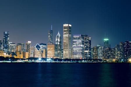 Night View On Chicago Skyline