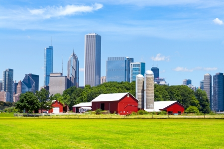 Photo pour American Red Farm With Chicago Skyline in Background - image libre de droit