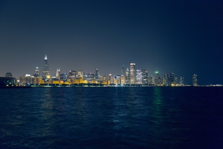 Chicago Downtown Skyline At Night