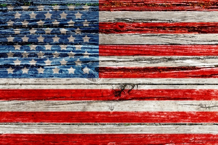 Old Painted American Flag on
