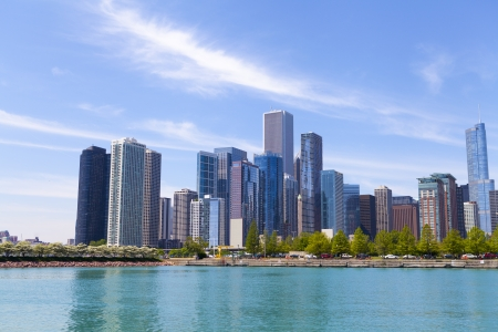 Chicago Skyline With Blue Clear Sky