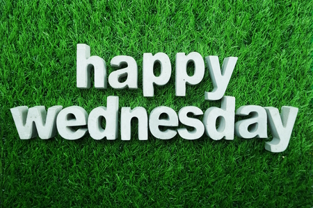 Photo for Happy Wednesday made from concrete alphabet - Royalty Free Image