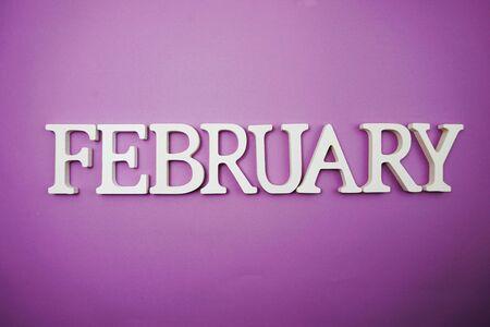 Photo pour February alphabet letter with space copy on Purple background - image libre de droit