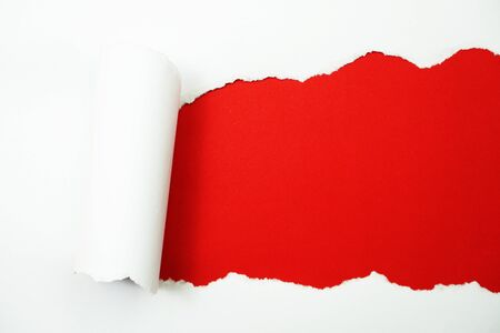 Photo for Paper torn with space copy on red background - Royalty Free Image