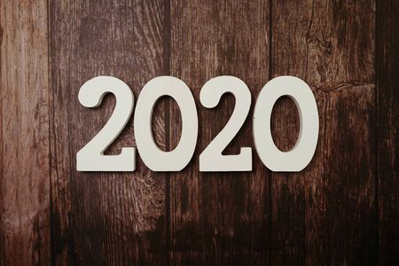 Photo pour 2020 Happy New Year with space copy on wooden background - image libre de droit