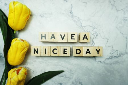 Photo for Have a Nice Day word letter message on marble background - Royalty Free Image