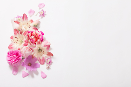 summer flowers on white background