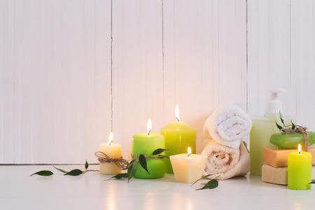 Foto für Beautiful composition of spa treatment on white background - Lizenzfreies Bild