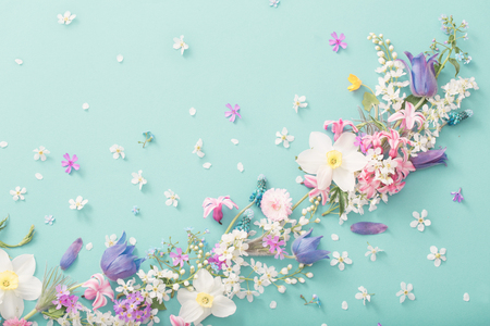 Photo for beautiful spring flowers on paper background - Royalty Free Image