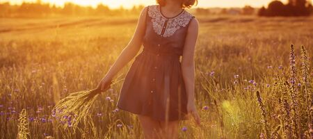 Photo pour beautiful teenager girl in summer field with cornflower - image libre de droit