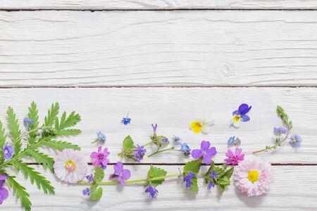 Photo pour beautiful flowers on wooden background - image libre de droit